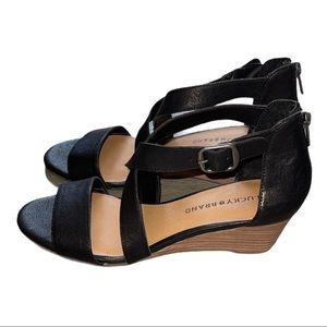 🆕 Lucky Brand Crisscross Leather Wedge Sandals